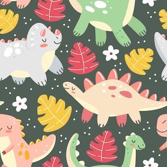Modello senza cuciture con dinosauri e foglie in uno stile simpatico cartone animato