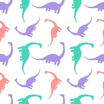 Modello senza cuciture con dinosauri su sfondo bianco stampa sagome diplodocus
