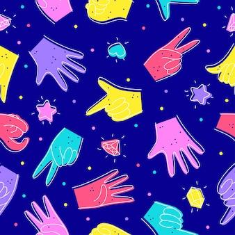 Modello senza cuciture con diverse illustrazioni di mani in stile scarabocchio designazione di numeri con le mani