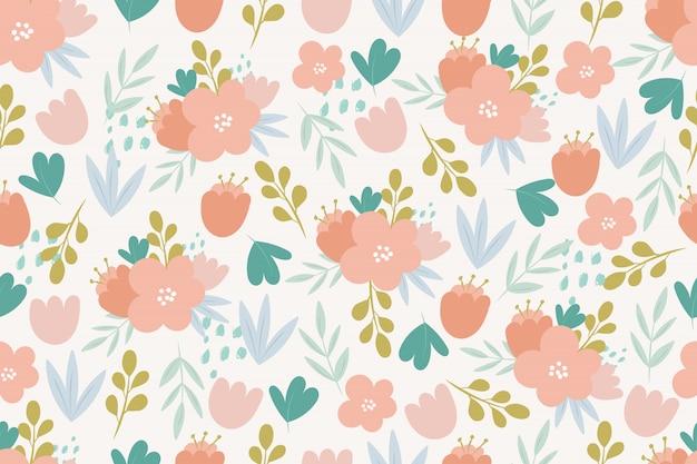 Reticolo senza giunte con i fiori di doodle