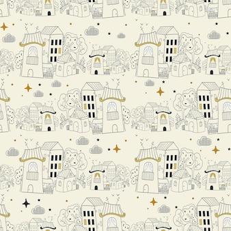 Modello senza cuciture con case di doodle casa carina disegnata a mano disegno di casa a tratteggio
