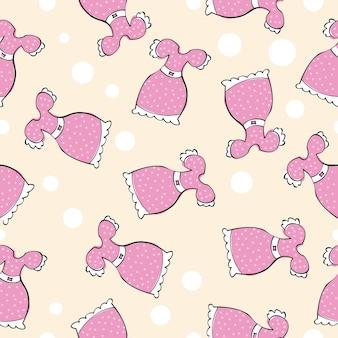 Modello senza cuciture con abiti rosa doodle - illustrazione vettoriale