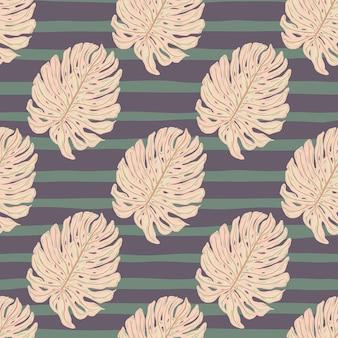 Modello senza cuciture con stampa di sagome di foglie di monstera rosa doodle. sfondo a righe viola.