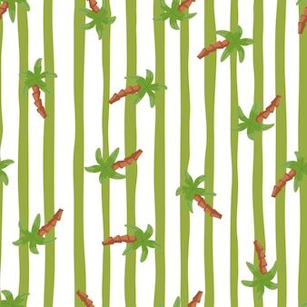 Modello senza cuciture con stampa di sagome di palme casuali doodle. fondo a strisce verde e bianco. progettato per il design del tessuto, la stampa tessile, il confezionamento, la copertura. illustrazione vettoriale.