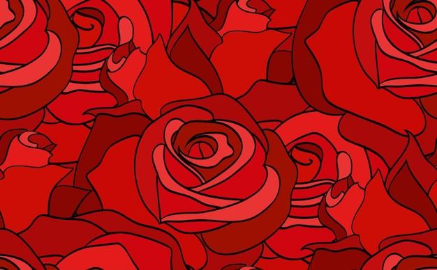 Modello senza cuciture con rose rosse scarabocchiate per la tua creatività