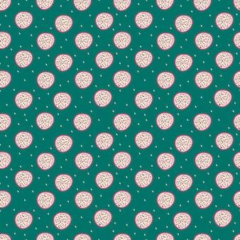 Modello senza cuciture con pitaya frutta drago su green Vettore Premium