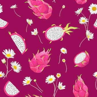 Modello senza cuciture con frutti del drago e fiore della margherita, sfondo pitaya. illustrazione vettoriale disegnata a mano in stile acquerello per copertina romantica estiva, carta da parati tropicale, texture vintage
