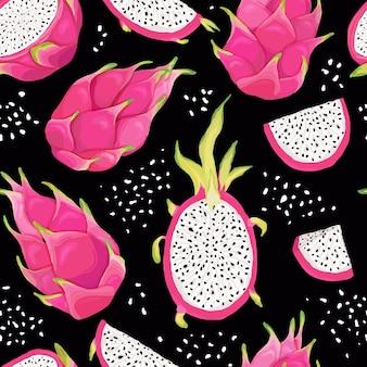 Modello senza cuciture con frutti del drago, sfondo pitaya. illustrazione vettoriale disegnata a mano in stile acquerello per copertina romantica estiva, carta da parati tropicale, texture vintage