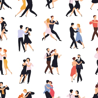 Modello senza cuciture con coppie eleganti che ballano tango o milonga su priorità bassa bianca