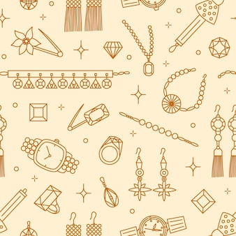 Modello senza cuciture con eleganti gioielli disegnati con linee di contorno: orecchini, spilla, collana, pietre preziose, orologio da polso