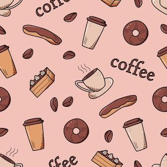 Modello senza cuciture con elementi di caffè e dessert. priorità bassa di vettore del concetto di caffè e torte dolci.