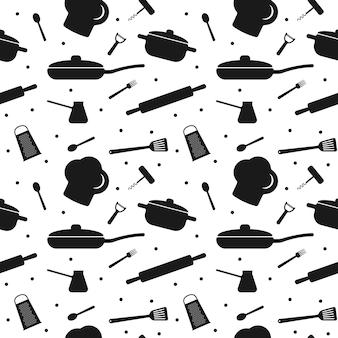 Modello senza cuciture con elementi di utensili da cucina per il design della carta da imballaggio