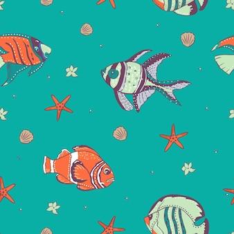 Modello senza cuciture con pesci esotici. illustrazione.