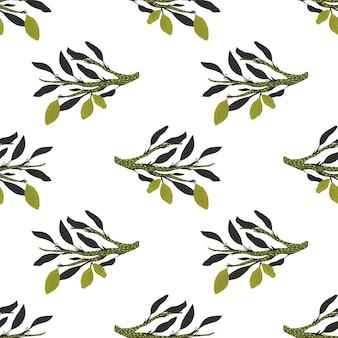 Modello senza cuciture con rami di foglie viola esotiche e limone verde
