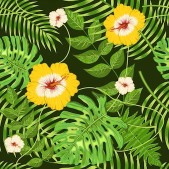 Modello senza cuciture con fiori e foglie tropicali esotici