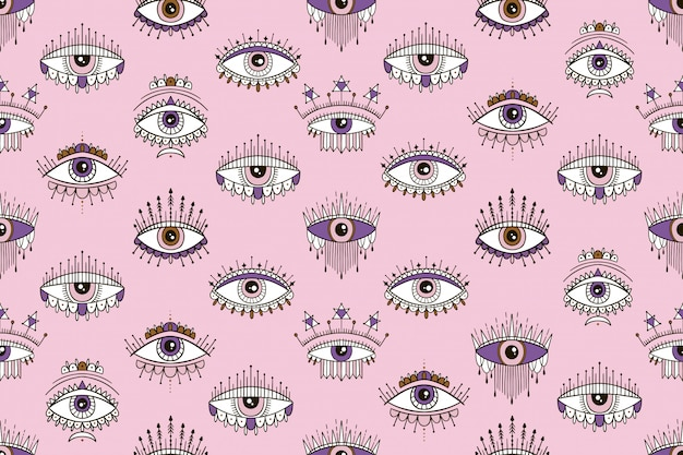 Modello senza cuciture con gli occhi modello magico. firmi l'occhio esoterico e d'ispirazione. Vettore Premium