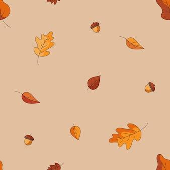 Modello senza cuciture con foglie che cadono e ghiande nei colori rosso giallo e arancione