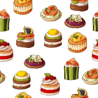 Modello senza cuciture con finger food. stile schizzo ripetuto sfondo. bruschette, sandwich, tartine e tapas.