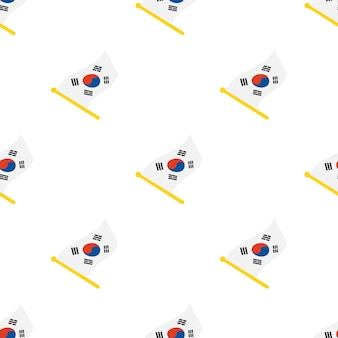 Modello senza cuciture con le bandiere della corea del sud sull'asta della bandiera su sfondo bianco illustrazione vettoriale