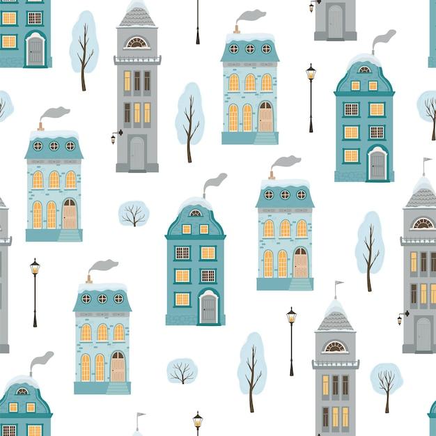 Modello senza cuciture con case invernali in stile piatto. sfondo vacanza di natale con un'accogliente città in stile retrò. illustrazione vettoriale