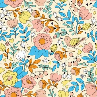 Seamless con fiori e uccelli