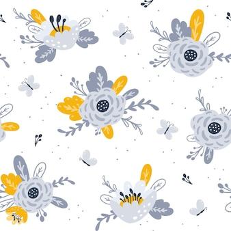 Modello senza cuciture con fiori design per l'illustrazione della stampa del tessuto