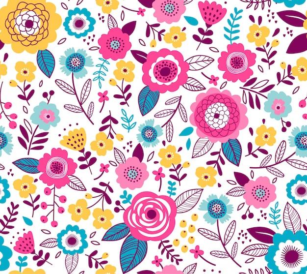 Modello senza saldatura con fiori per il design. piccoli fiori multicolori colorati. bianca . sfondo floreale moderno.