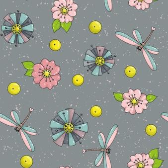 Modello senza saldatura con fiori e libellule