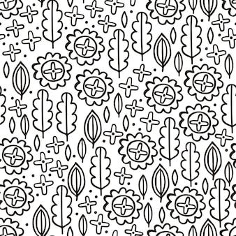 Modello senza cuciture con fiori in stile disegnato a mano in bianco e nero
