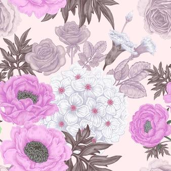 Modello senza cuciture con fiori rose, peonie, ortensie, garofani.