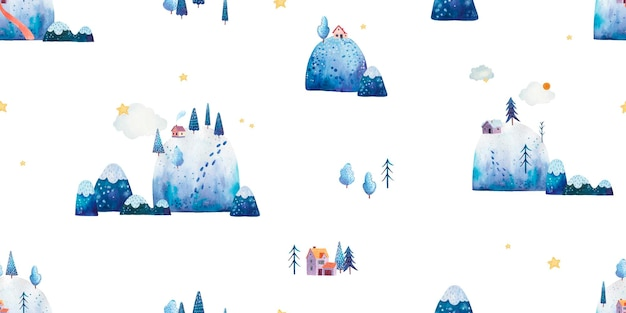 Modello senza cuciture con foresta, montagne, alberi, villaggio, simpatica illustrazione per bambini