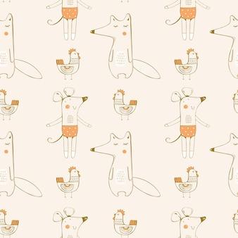 Il modello senza cuciture con l'illustrazione disegnata a mano del topo di volpe e della gallina può essere usato per i bambini i bambini