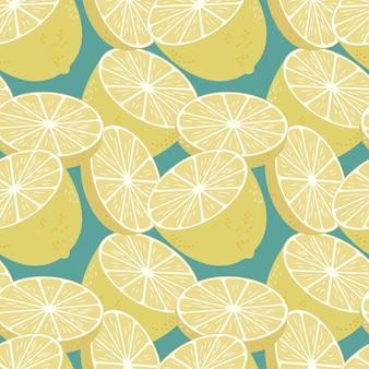 Modello senza cuciture con limoni freschi sfondo colorato di frutta infinita