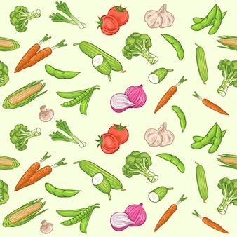 Modello senza cuciture con verdure fresche. cibo organico. concetto di giardinaggio o agricoltura