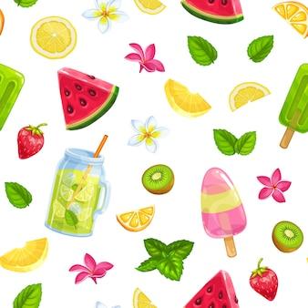 Modello senza cuciture con frutta ghiaccio, limonata e frutta. sfondo estivo con cibo rinfrescante.