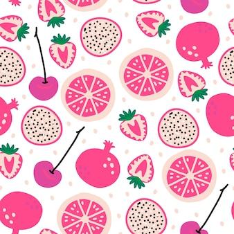 Motivo senza cuciture con frutta pitaya, ciliegia, fragole, pompelmo, melograno