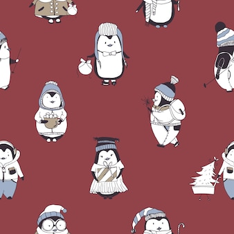 Modello senza cuciture con divertenti baby pinguini che indossano vari abiti invernali sul rosso