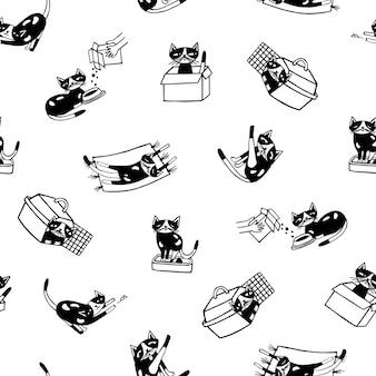 Modello senza cuciture con gatto divertente disegnato a mano nei colori bianco e nero.