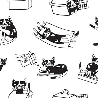 Modello senza cuciture con il gatto divertente che si lava, mangiando, dormendo, sedendosi all'interno del contenitore e del trasportatore di cartone.