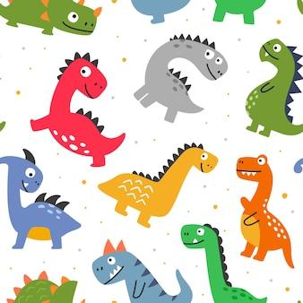 Modello senza cuciture con dinosauri divertenti e allegri dei cartoni animati