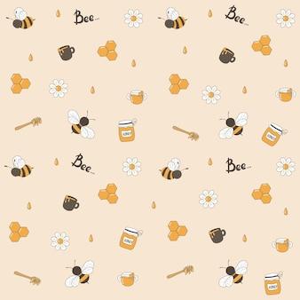 Modello senza cuciture con api volanti divertenti, margherite e gocce di miele, cucchiaio di miele, barattoli e tazze con miele.