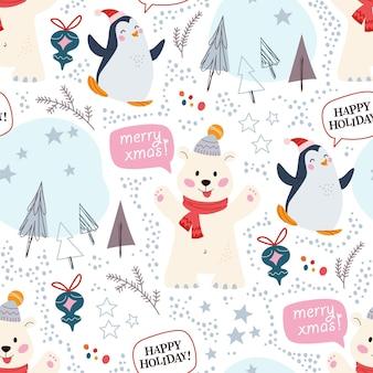Modello senza cuciture con divertenti personaggi di orso polare e pinguino in cappelli, elementi decorativi astratti, abeti. per cartoline di natale, inviti, carta da imballaggio ecc. illustrazione di cartone animato piatto vettoriale.