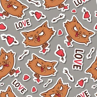 Modello senza cuciture con divertente gatto rosso innamorato