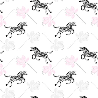 Modello senza cuciture con zebra divertente e fiore su sfondo bianco zebra carina disegnata a mano di vettore