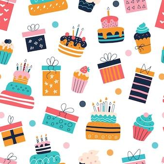 Modello senza cuciture con regali, torte e cupcakes, disegno vettoriale di prodotti di carta, tessuti.