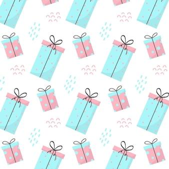 Motivo senza cuciture con regali motivo con regali blu e rosa