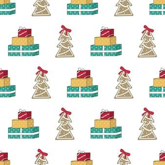 Modello senza cuciture con regalo di albero di natale di pan di zenzero e stampa festiva di parole per felice anno nuovo e...