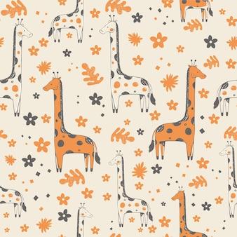 Modello senza cuciture con illustrazione vettoriale disegnata a mano di giraffa