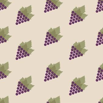 Modello senza cuciture con uva e foglie su sfondo grigio. ripetendo il fondo infinito dell'uva viola. illustrazione vettoriale