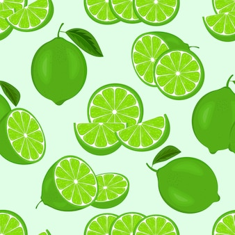 Modello senza cuciture con fette di lime o limoni succosi freschi verdi